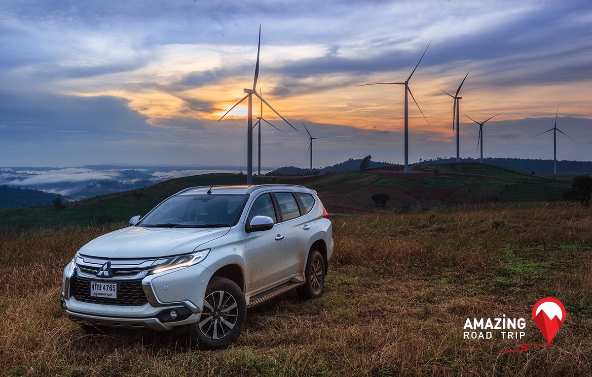 Capture Images of Windmills at Khao Kho in Petchaboon with All New  Mitsubishi Pajero Sport.