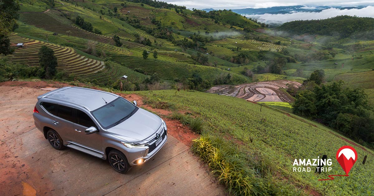 Seek New Thrills with the Offroad Uphill Route to Ban Pong Piang, Chiang Mai and View Stunning Step Plantations with the All New Pajero sport